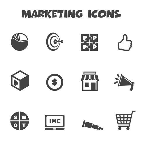 símbolo de ícones de marketing vetor