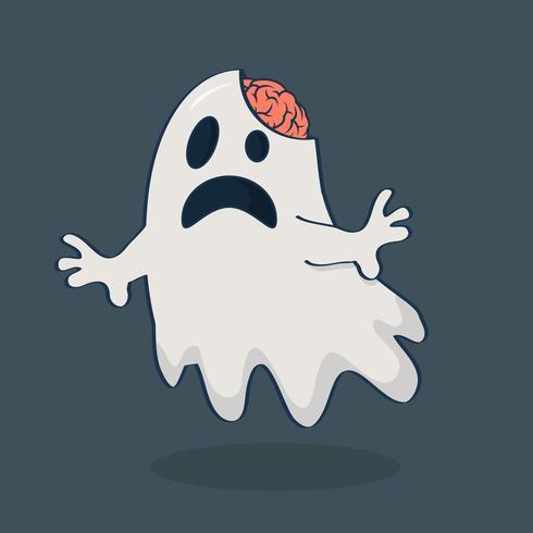 fantasma com cérebro vetor