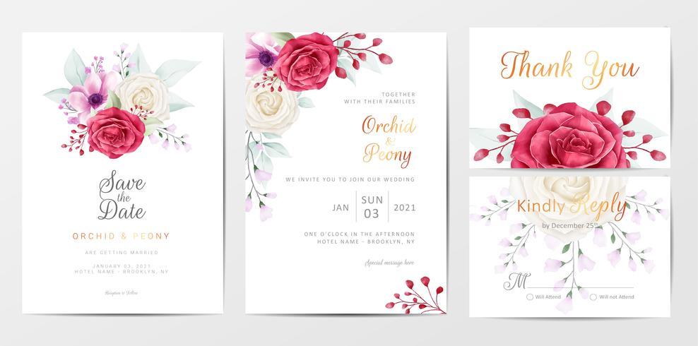Conjunto de modelo de cartões de convite de casamento flores românticas vetor