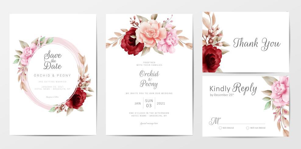 Convite de casamento elegante conjunto com flores em aquarela vetor