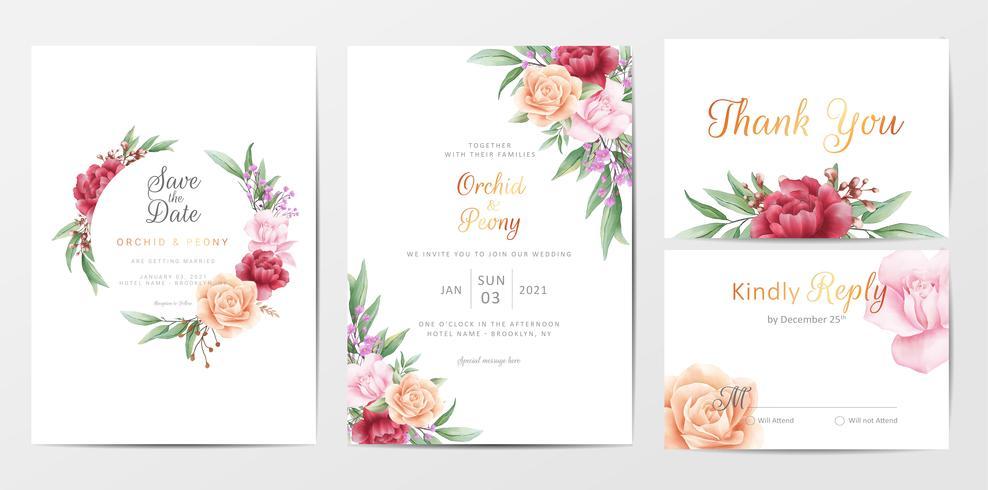 Conjunto de modelo de cartões de convite de casamento de folhagem romântica vetor