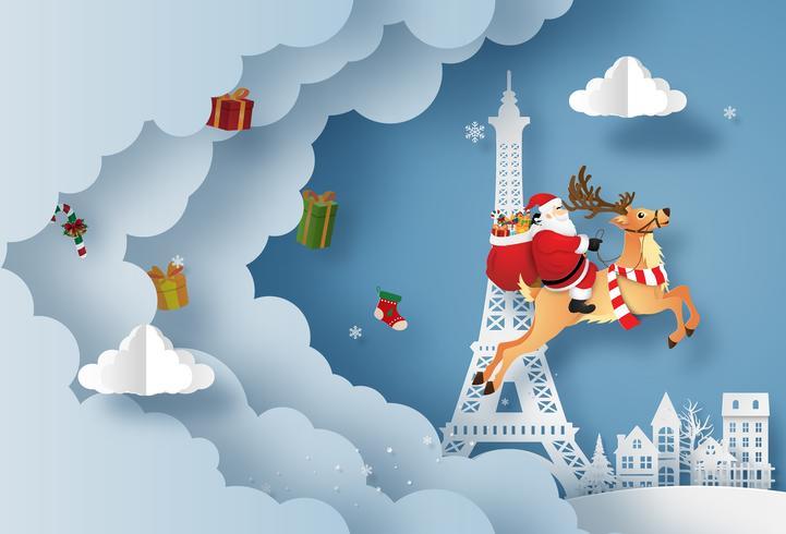Papai Noel dá presentes na cidade e na Torre Eiffel vetor