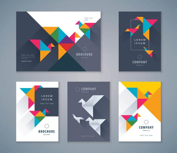 Conjunto de design de livro de capa vetor