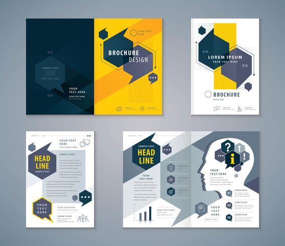 Conjunto de design de livro de capa azul e laranja vetor