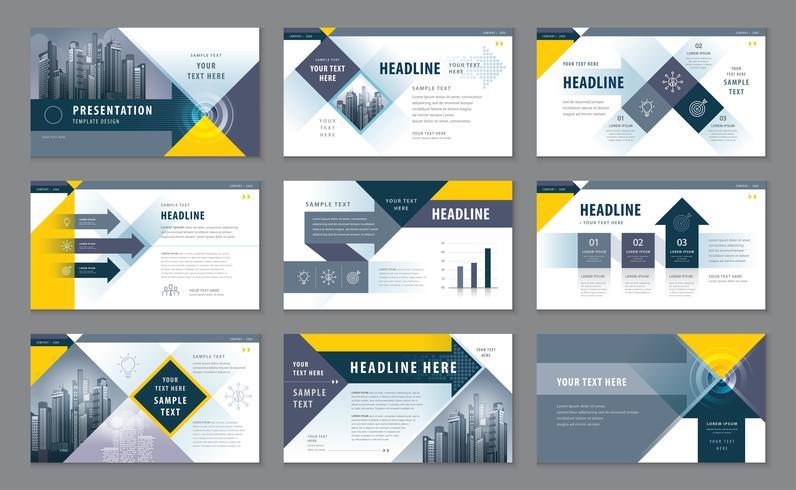 Modelos de apresentação, infográfico elementos conjunto de design de modelo vetor