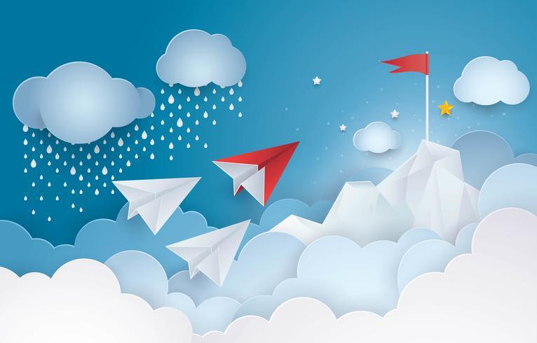 Avião de papel voando para o topo da bandeira vermelha de uma montanha na nuvem do céu vetor