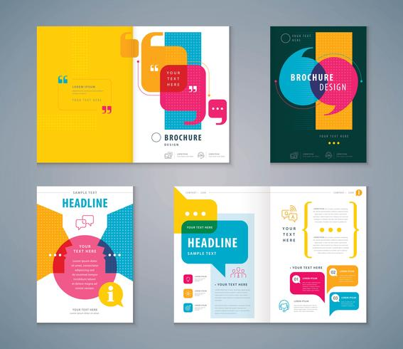 Conjunto de design de livro de capa colorida vetor