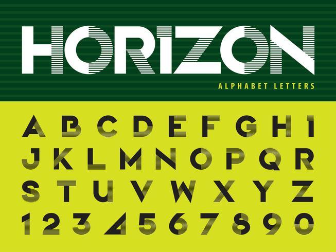 Alfabeto de linha horizontal letras e números vetor