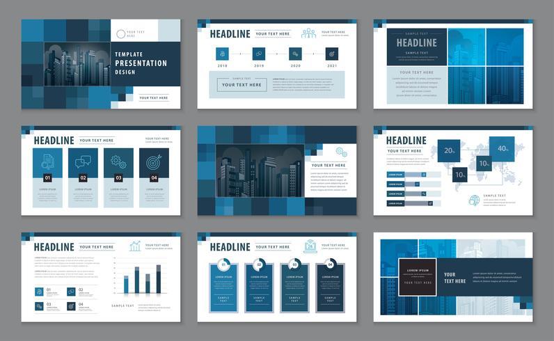 Modelos de apresentação azul, infográfico elementos modelo conjunto de design vetor