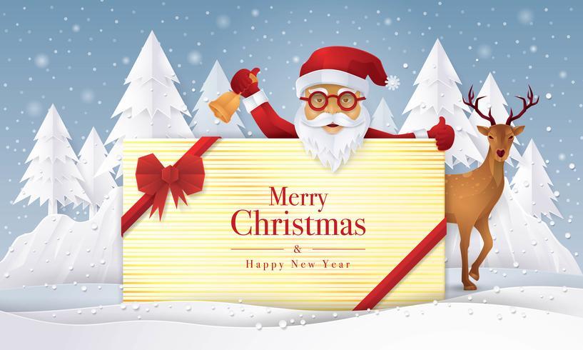 Papai Noel e renas segurando presente com cartão de feliz Natal vetor