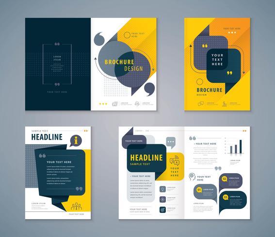 Conjunto de design de livro de capa de bolhas de discurso vetor