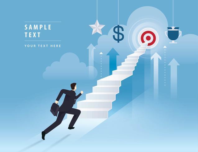 Empresário subindo escada para o alvo vetor