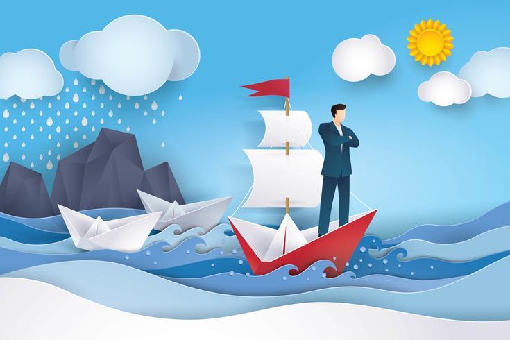 Empresário no barco à vela vermelho e branco no oceano vetor