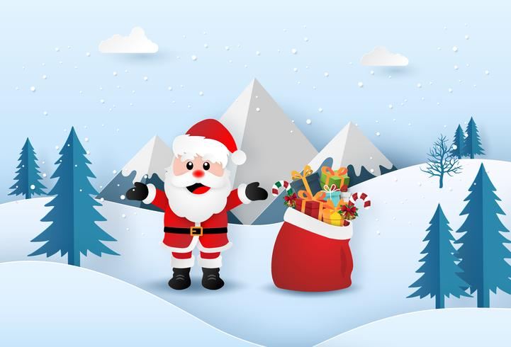 Papai Noel com saco de presentes vetor