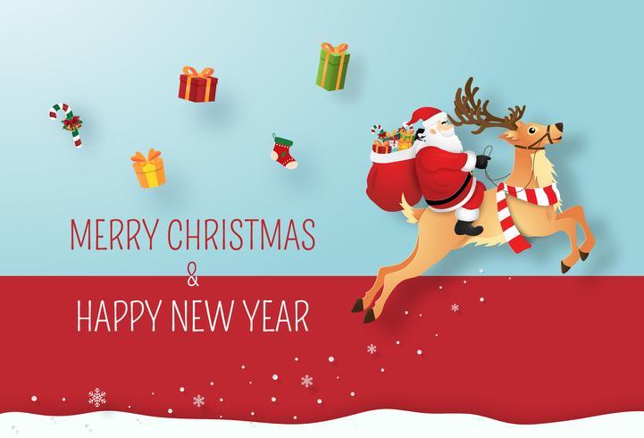 Arte de papel origami de Papai Noel e renas, dando presentes cartão vetor