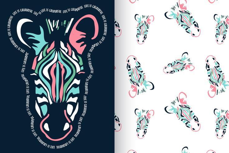 Mão desenhada zebra bonita com conjunto padrão vetor