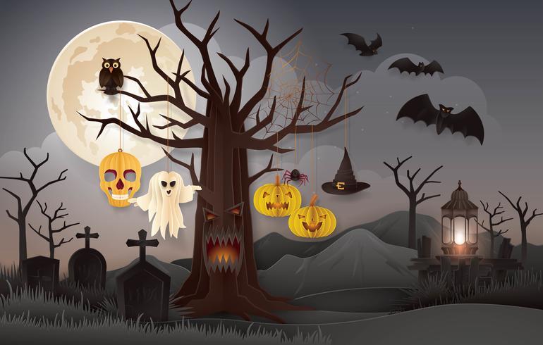 Festa da noite de Halloween com cemitério vetor