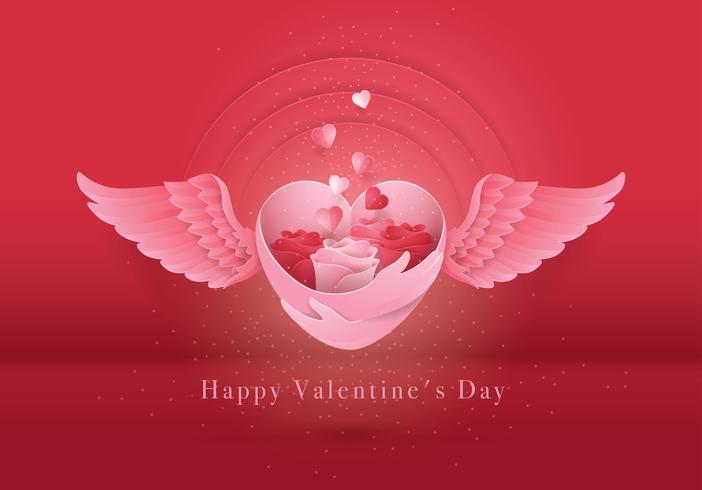 Cartão de dia dos namorados Rosa vermelha e branca no coração com asas Cartão de dia dos namorados vetor