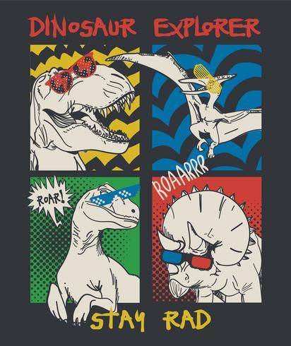 Mão desenhada ilustração de dinossauro em quadrinhos vetor