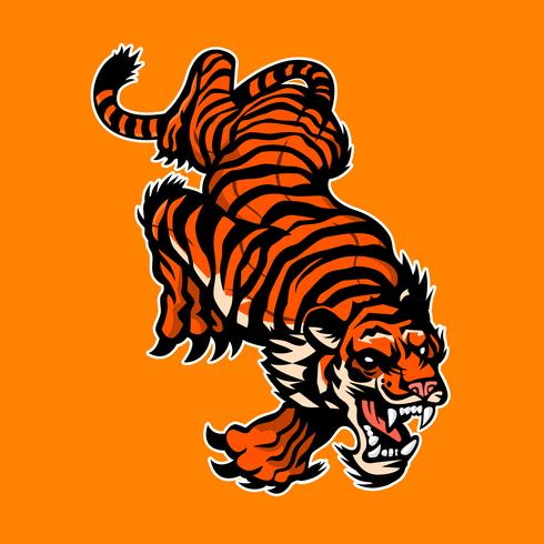 Tigre bravo, logotipo da mascote, design de etiqueta vetor
