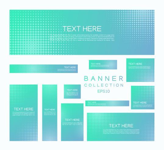 Banners modernos gradiente colorido estilo mínimo de meio-tom vetor