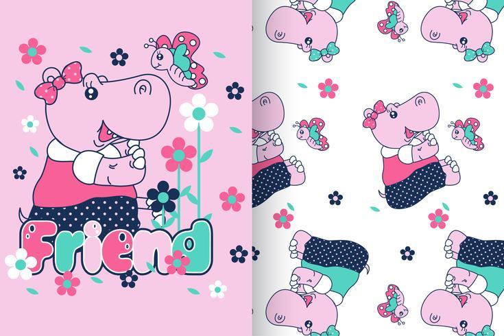 hipopótamo com conjunto de padrões vetor