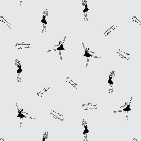 Padrão de menina mão desenhada dança balé vetor