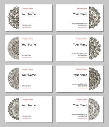 Conjunto de cartões de visita do henna vetor