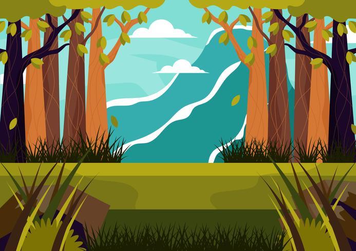 Fundo de bela paisagem com montanhas e árvores vetor