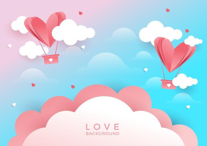 Corações voando no fundo rosa vetor