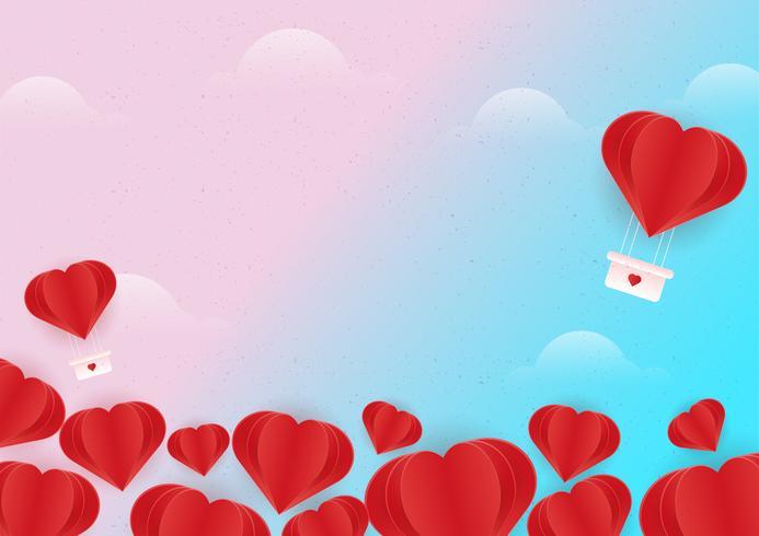 Fundo do coração voador vetor
