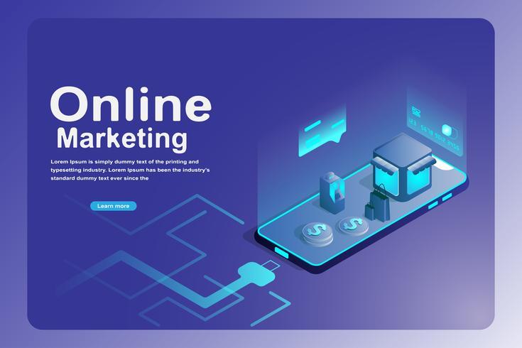 Conceito de página de destino de marketing on-line vetor