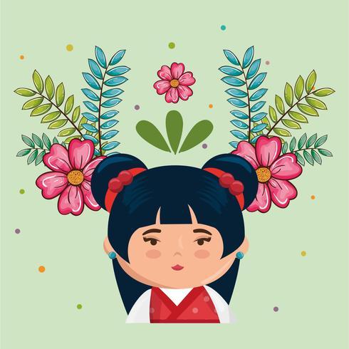 menina japonesa kawaii com caráter de flores vetor