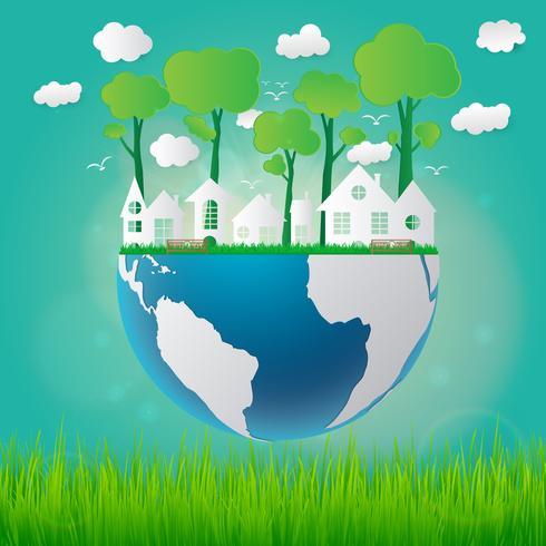 Conceito de ecologia eco amigável e salvar a terra com grama e sol vetor