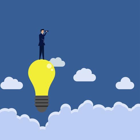 Homem de negócios olhando através do vidro acima da idéia à procura de investimento. vetor
