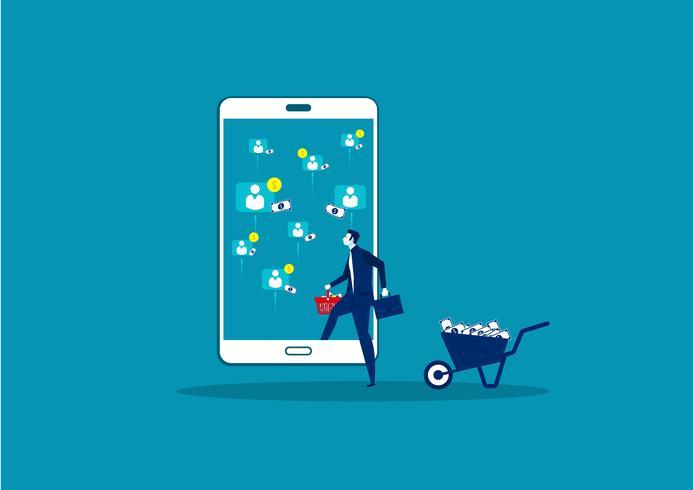 venda on-line de lucro comercial no celular vetor