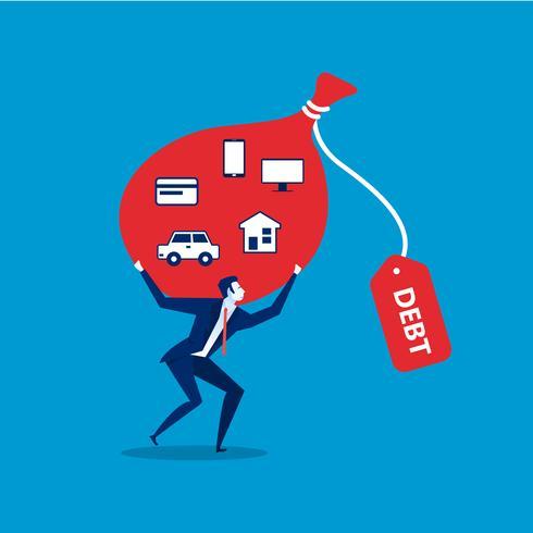 Homem segurando um saco grande com ícones de obrigação de dívida vetor