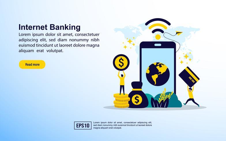 Modelo de página da web de Internet banking vetor