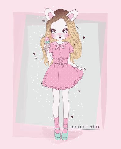 Mão desenhada linda garota usando orelhas de coelho e tomando sorvete com tipografia vetor