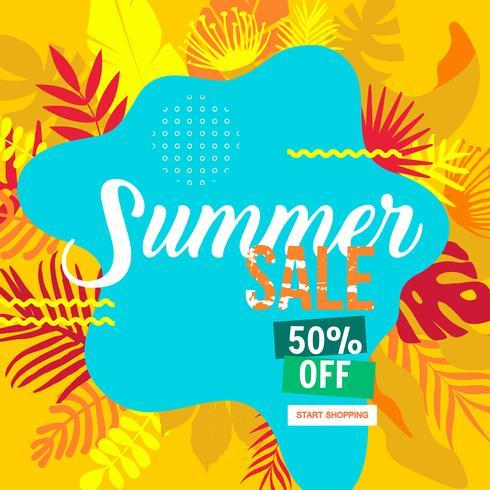 banner de site de venda de verão vetor
