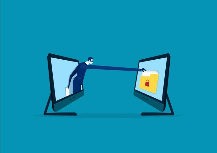 empresário com uma mão quer roubar informações de um laptop vetor