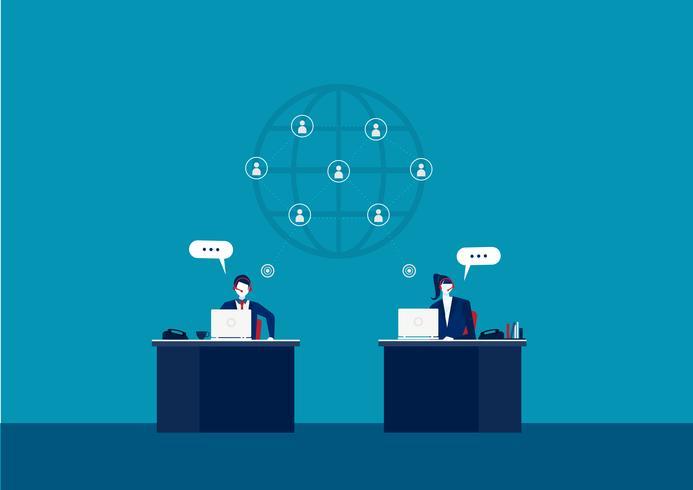 Atendimento ao cliente comercial de suporte técnico vetor