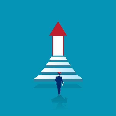 Um homem se forma e sobe as escadas para a porta iluminada do sucesso vetor