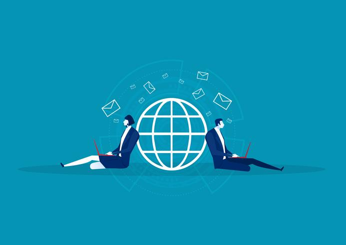 homem de negócios sentado e enviando e-mail na rede mundial vetor