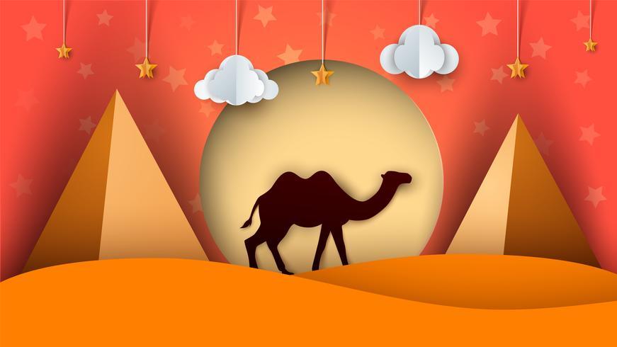 Paisagem de papel de desenho animado. Ilustração de camelo. Nuvem, estrela, sol, pirâmide. vetor