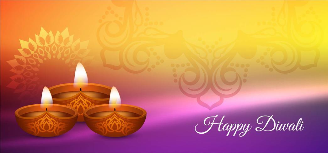 Feliz Diwali brilhante design colorido vetor