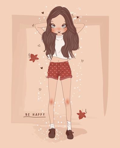 Mão desenhada linda garota com tipografia de folhas vetor