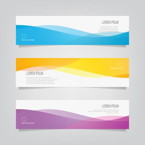 Conjunto de bandeiras de cor ondulada abstrata vetor