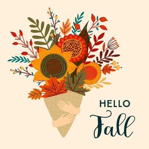 Olá Outono buquê de flores de outono vetor