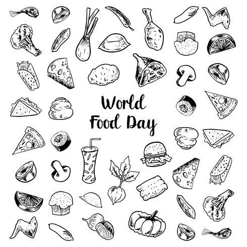 Dia Mundial da Alimentação com elementos de carnes e legumes vetor
